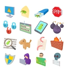 Hacking icons set cartoon style vector image vector image
