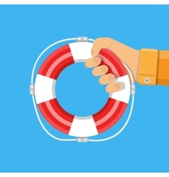 hand with lifebuoy support and assistance vector image