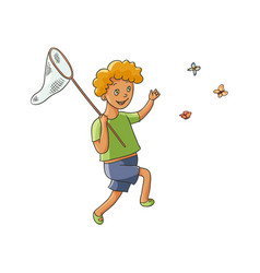 Happy boy catching butterflies with butterfly net vector