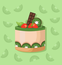 Kiwi mousse delicious cake sweet dessert cherry vector
