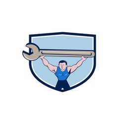 Mechanic lifting giant spanner wrench crest vector