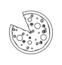 Pizza fast food with salami outline vector