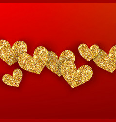 realistic golden hearts on red background happy vector image