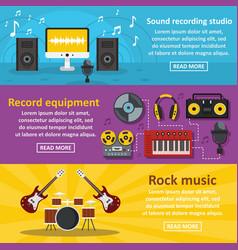 Recording studio banner horizontal set flat style vector