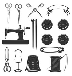 Set of tailor tools and design elements design vector