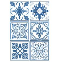 Set of vintage ceramic tiles in azulejo design vector