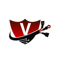 Shield global electricity letter v vector