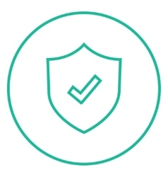Shield with check mark line icon vector image vector image