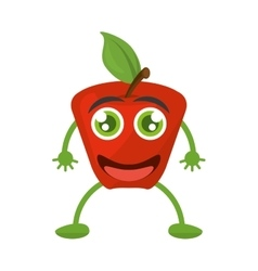 Smile red apple natural vitamin vector