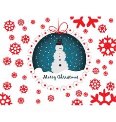 Snowmen merry christmas card vector
