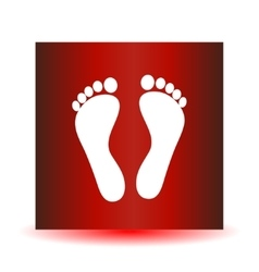 Two white human footprints isolated on red vector