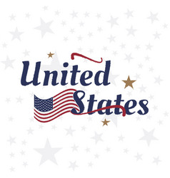 Usa lettering with flag label badge flat vector
