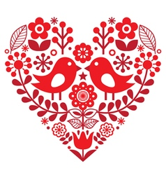Valentines day folk pattern with birds and flower vector