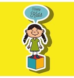 girl kids happy cube icon vector image