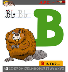 letter b with cartoon beaver vector image