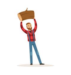 smiling lumberjack man holding downed log colorful vector image