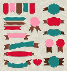 Set retro ribbons vintage labels emblems vector
