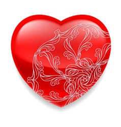 Shiny red heart with decor vector