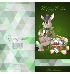 The easter bunny with a basket vector