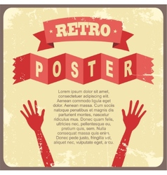 Vintage poster with hands vector