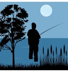 Fisherman goes fishing vector