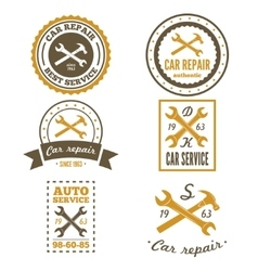 Set of vintage mechanic labels emblems and logo vector