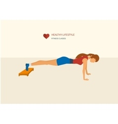 Young adult woman push-up from the floor in vector