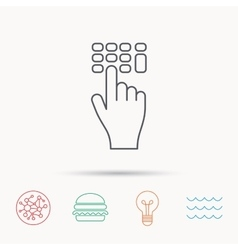 Enter pin code icon click hand pointer sign vector