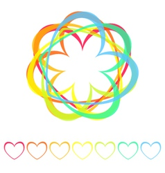 rainbow hearts icon vector image