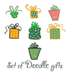 Set of watercolor doodle gifts vector