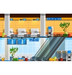Airport terminal flat composition vector
