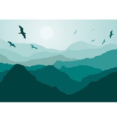 Birds flying over mountains backdrop vector