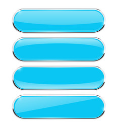 Blue oval buttons vector