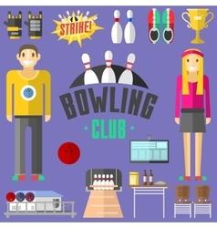 Bowling symbols set vector