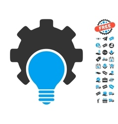 Bulb Configuration Gear Icon With Free Bonus vector image