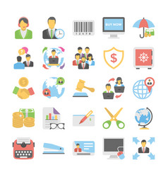 business flat colored icons 4 vector image