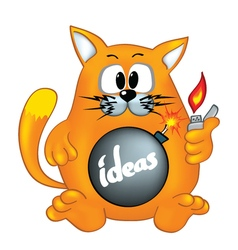 Cat is ready to explode ideas vector