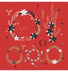 Christmas New Year Holiday wreath Hand drawn vector image vector image