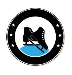 circular frame with ice skates vector image