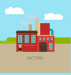 colored factory building vector image vector image