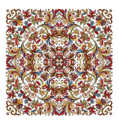 Colorful ornamental floral paisley shawl bandanna vector