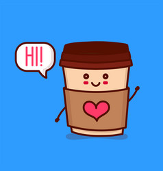 cute happy smiling paper coffee cup vector image vector image