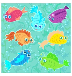 Funny fish seamless pattern vector