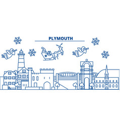 Great britain plymouth winter city skyline merry vector