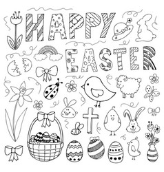 hand drawn easter doodles set vector image vector image