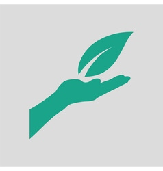 Hand holding leaf icon vector