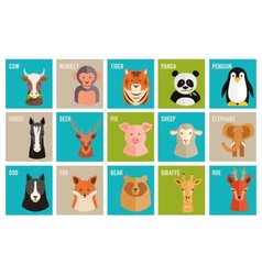 icons of animals and pets in flat style vector image vector image