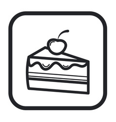 Line icon piece of cake black and white vector