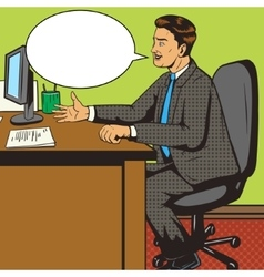 Man in office pop art retro style vector image vector image