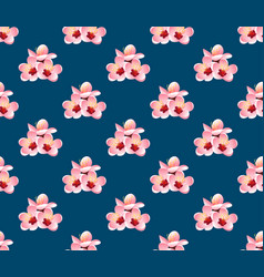 Momo peach flower blossom on indigo blue vector